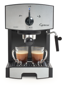Front facing view of EC50 espresso machine in black with silver panel featuring dial for power, steam, and espresso brewing.