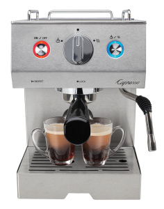 Front facing view of stainless steel espresso machine featuring power button, steam and froth button, steam wand to the right of the machine. Two espresso sit under the double cup porta-filter.