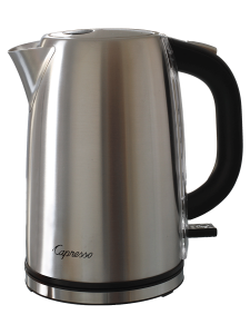 Front facing view of stainless steel hot water kettle with black handle on right hand side.