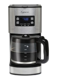 Front facing view of silver 12 cup coffee maker showcasing digital clock display with programming buttons and glass carafe on hot plate.