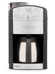Front facing view of 10 cup semi automatic coffee machine in silver with black panels featuring clear bean container, bean grinder, and digital clock display with 10 cup stainless steel carafe.