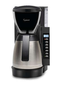Front facing view of 10 cup drip coffee maker with black base, and stainless steel 10 cup carafe. Panel for programming is on the right hand side featuring a digital cock display with power and programming buttons.