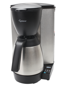 Front right facing view of 10 cup drip coffee maker with silver base, a black grounds container, and a stainless steel 10 cup thermal carafe. Right side base of machine features a small digital display with power and programming buttons.