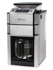 Front right facing view of silver coffee machine featuring a bean to cup grinder and hot plate with 12 cup glass carafe. Display features digital clock and options for ground coffee, oily beans, and adjustable cup button.