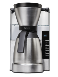 Front facing 10 cup drip coffee maker with clear water tank and stainless steel ground coffee container. Glass 10 cup carafe filled half way with fresh coffee on hot plate. Panel on the right side of the machine showcasing digital clock and programming bu