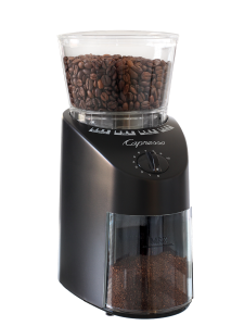 Front facing view of conical burr grinder with black base and clear lid.