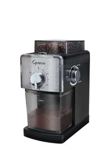 Front right facing view of black burr grinder with timer dial on the front of machine and grinder consistency dial on the right side of the machine.