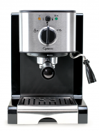 Front facing view of black espresso machine with silver panel featuring power button and brew/steam dial.  Steamer/frother sits on the right side of the machine.