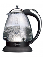 Front facing view of glass hot water kettle featuring chrome lid on top and chrome/black handle on right side of machine.