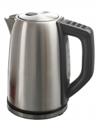 Front facing view of stainless steel hot water kettle with black handle on the right hand side.