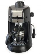 Front facing view of 4 cup espresso machine in black with silver panel on the lid featuring glass carafe.