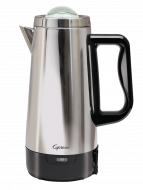 Front facing view of stainless steel 12 cup percolator featuring black handle on right side of coffee maker.