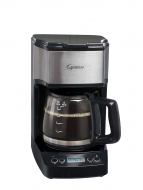 Front facing view of five cup mini drip coffee maker with glass five cup carafe. Base of machine features a digital clock and buttons for programming and power button.