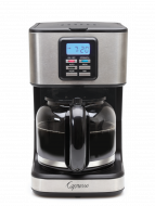 Front facing view of 12 cup drip coffee maker in stainless steel, showcasing digital clock display and glass 12 cup carafe.