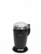Front facing view of blade grinder with black base and clear lid.