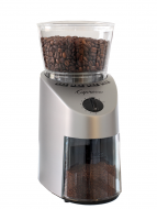 Front facing view of conical burr grinder with silver base and clear lid.