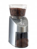 Front facing view of conical burr grinder with stainless steel base and clear lid.