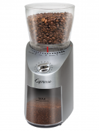 Front facing view of infinity burr grinder with stainless steel base and clear bean container filled with beans.